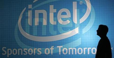 A man walks past an Intel wall at the 2009 Computex trade show in Taipei