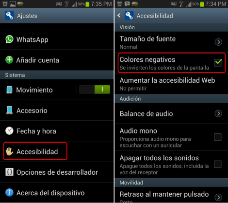 INvertir colores Android